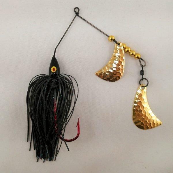 black spinnerbait with brass hatchet blades