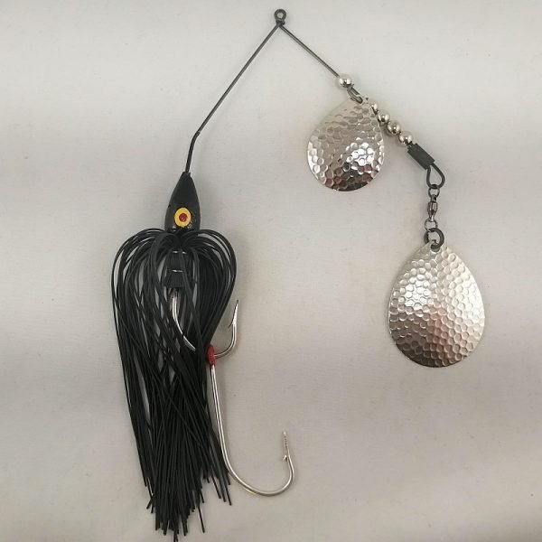 Black large spinnerbait with double Colorado blades