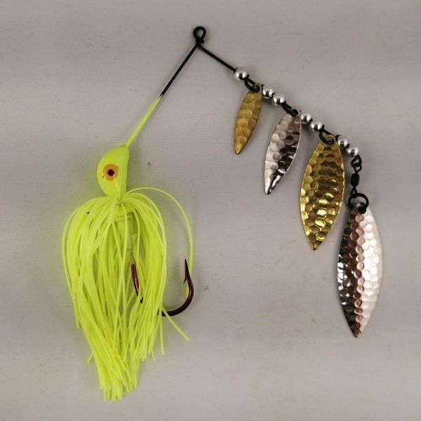 Chartreuse spinnerbait with four silver and brass blades