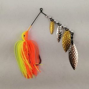 Orange and chartreuse spinnerbait with four silver and brass blades