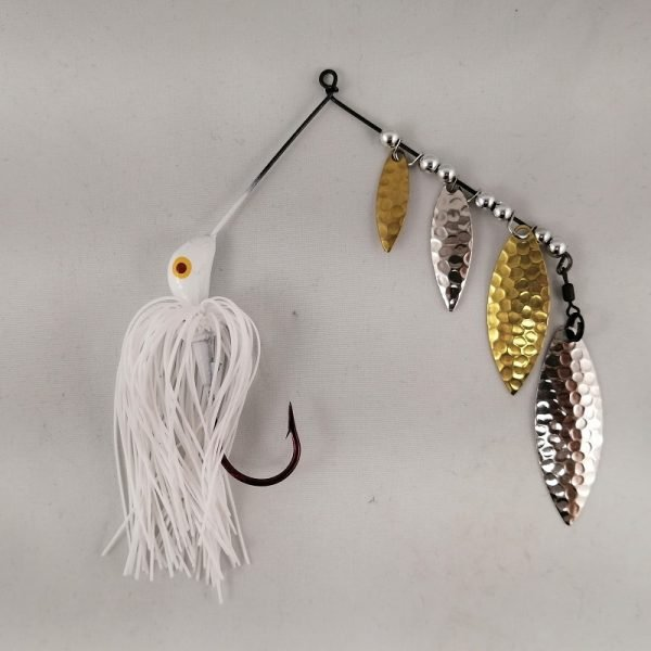 White spinnerbait with four silver and brass blades