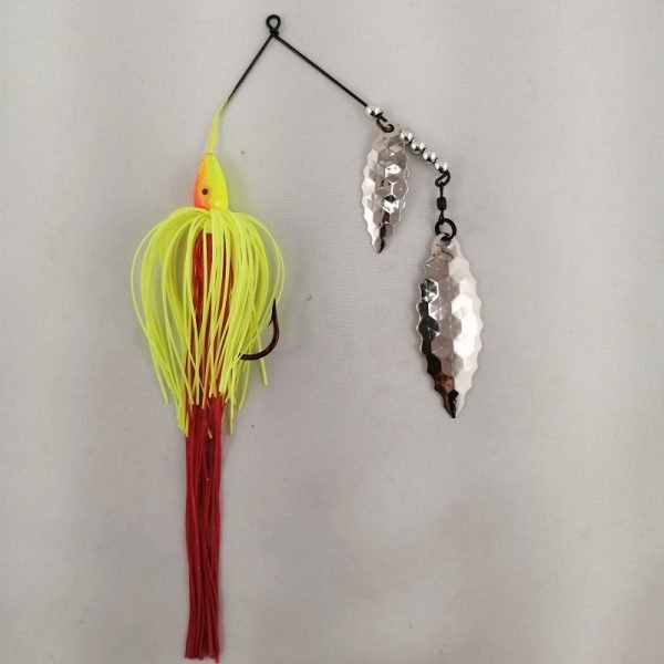 Red and chartreuse spinnerbait with a long bleeder skirt, and scallop blades