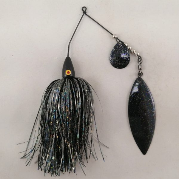 Black spinnerbait with flash skirting