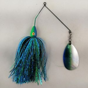 Blue and lime spinnerbait with flash skirting
