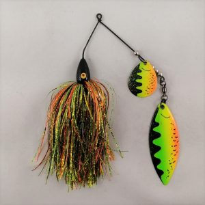 Firetiger spinnerbait with flash skirting