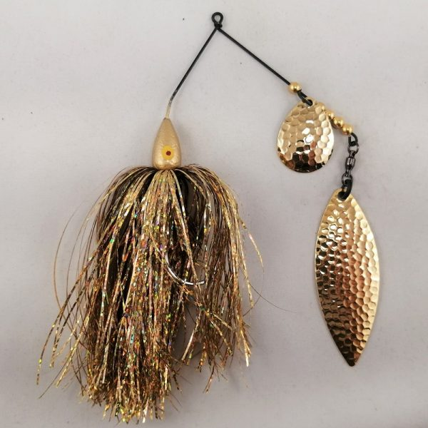 Gold spinnerbait with flash skirting