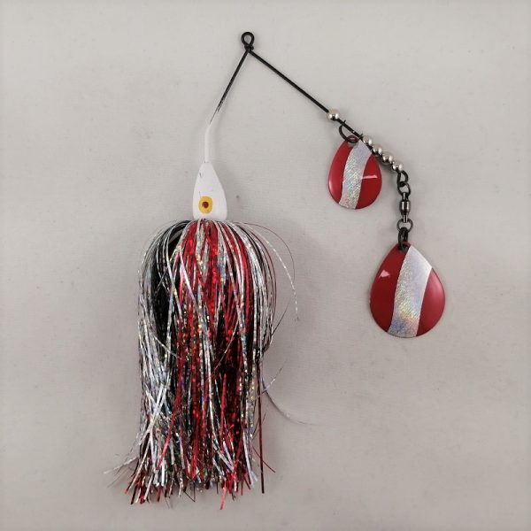 Red and silver spinnerbait with flash skirting