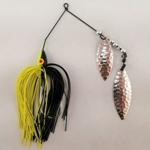 Black and chartreuse spinnerbait with double willow blades
