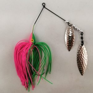 Lime and pink spinnerbait with double willow blades