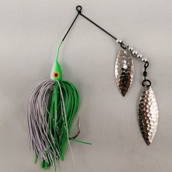 Lime and white spinnerbait with double willow blades