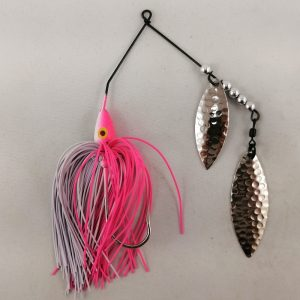 Pink and white spinnerbait with double willow blades