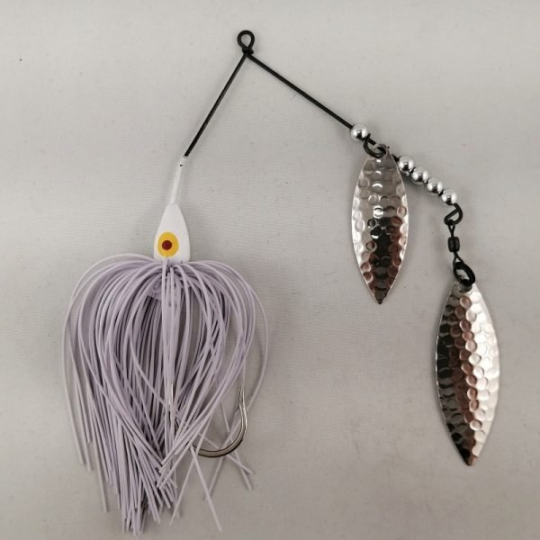 White spinnerbait with double willow blades