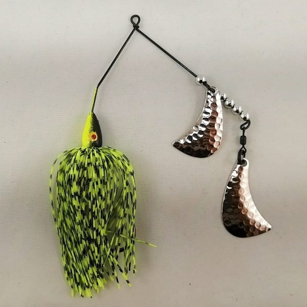 Black and Chartreuse spinnerbait with silver hatchet blades