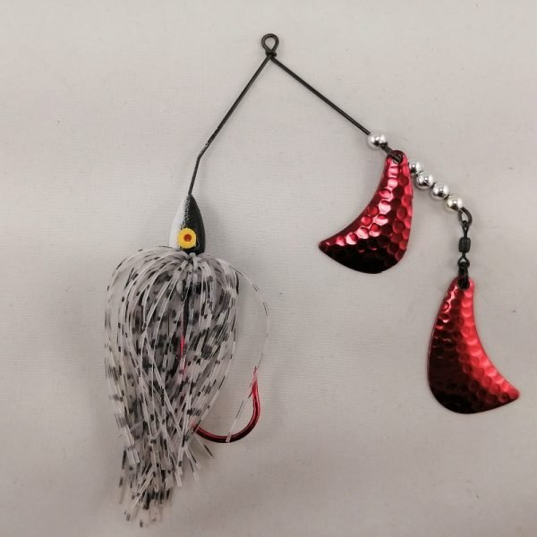 Black and white spinnerbait with red hatchet blades