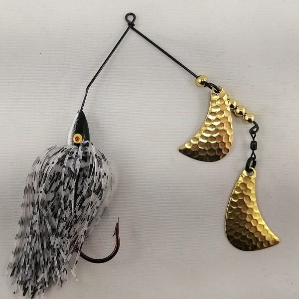 Black and white spinnerbait with brass hatchet blades
