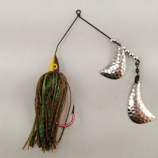 Brown and yellow spinnerbait with silver hatchet blades