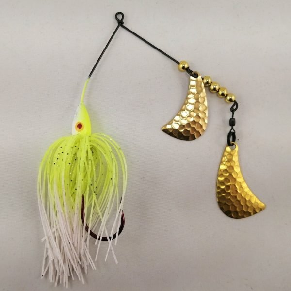 Chartreuse and white spinnerbait with Brass hatchet blades