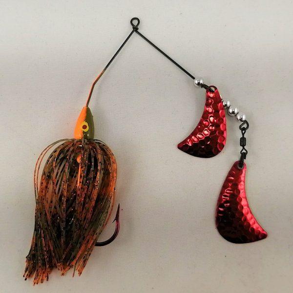 Orange and Pumpkin spinnerbait with red hatchet blades