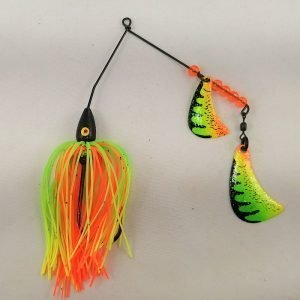 Perch pattern spinnerbait with firetiger hatchet blades
