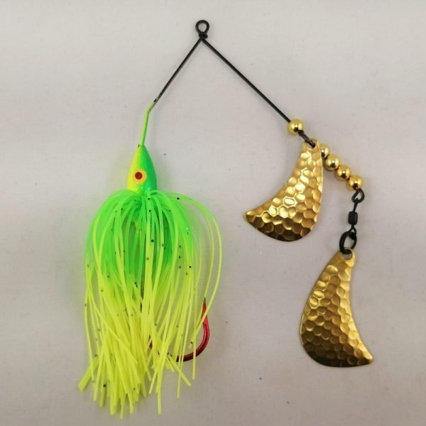 Lime and chartreuse spinnerbait with brass hatchet blades
