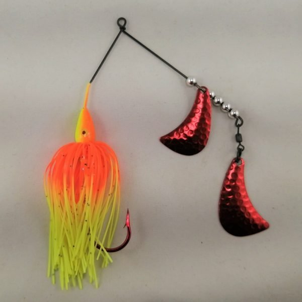 Orange and chartreuse spinnerbait with red hatchet blades