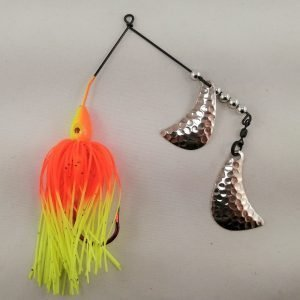 Orange and chartreuse spinnerbait with silver hatchet blades