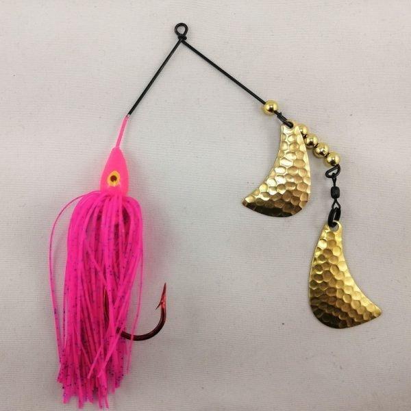 Pink spinnerbait with brass hatchet blades