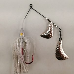 Silver spinnerbait with silver hatchet blades