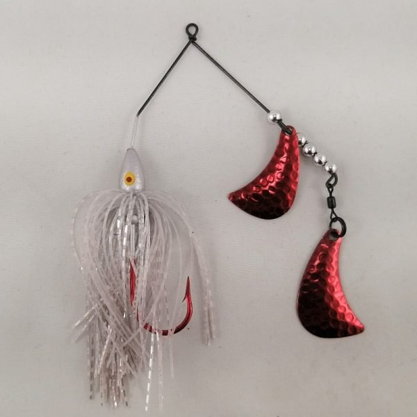 Silver spinnerbait with red hatchet blades