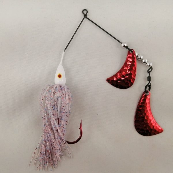 White and firecracker spinnerbait with red hatchet blades