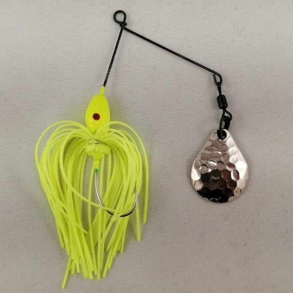 Small chartreuse spinnerbait with a Colorado blade