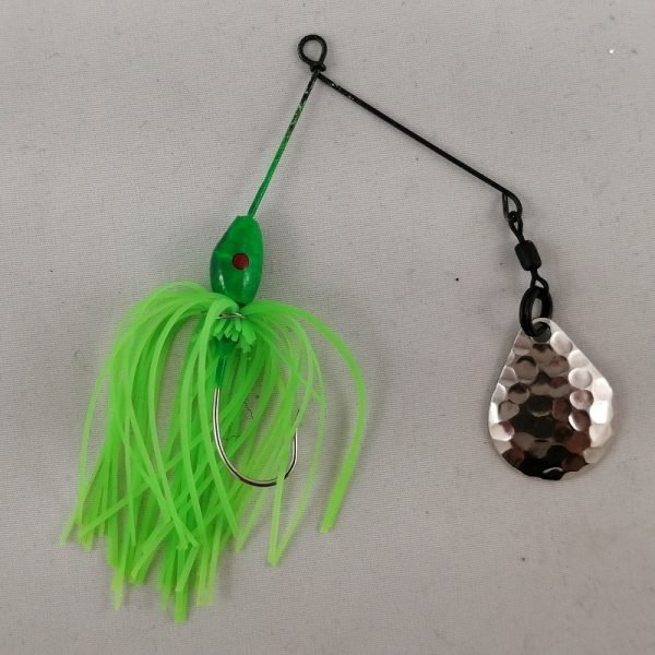 Small lime spinnerbait with a Colorado blade