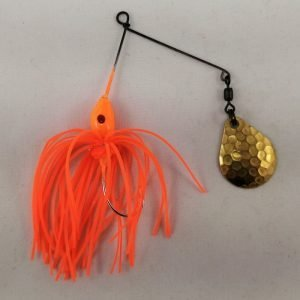 Small orange spinnerbait with a Colorado blade