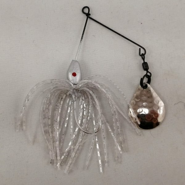 Small silver spinnerbait with a Colorado blade