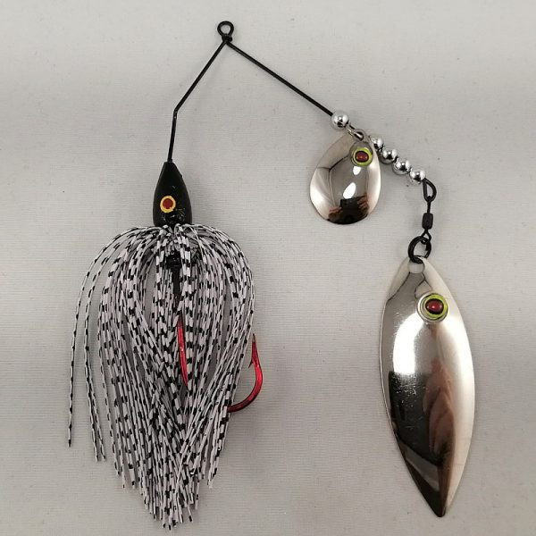white and black spinnerbait with colorado and willow fishhead blades