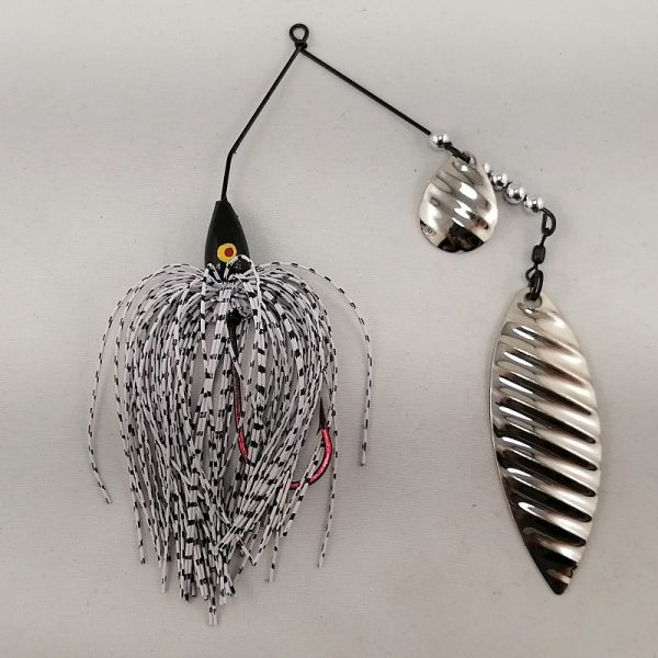 white and black spinnerbait with colorado and willow silver ripple blades