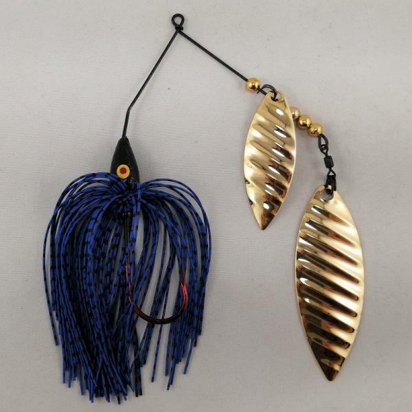 blue and black spinnerbait with double gold willow ripple blades