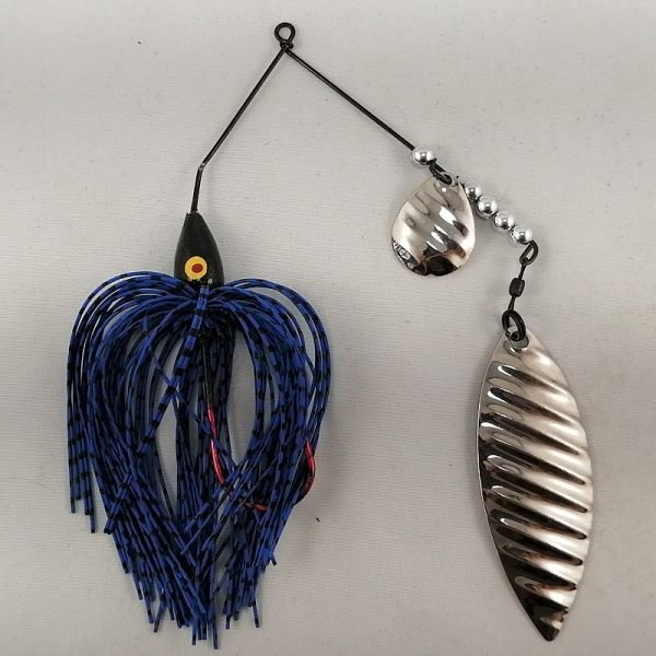 Blue and black spinnerbait with colorado and willow silver ripple blades