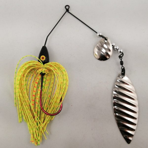 chartreuse, orange, and lime spinnerbait with colorado and willow silver ripple blades