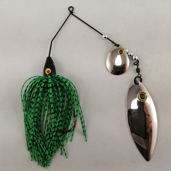 lime and black spinnerbait with colorado and willow fishhead blades