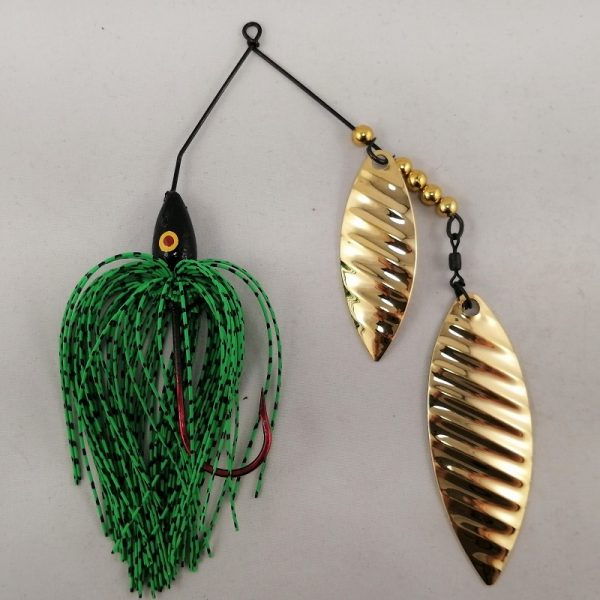 lime and black spinnerbait with double gold willow ripple blades