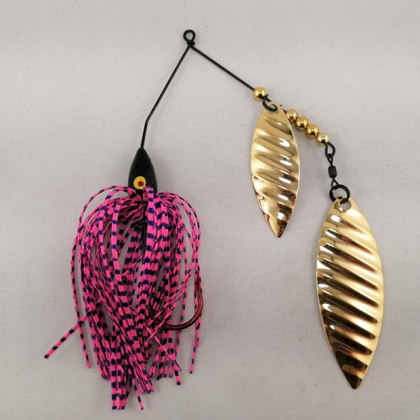 pink and blue spinnerbait with double gold willow ripple blades
