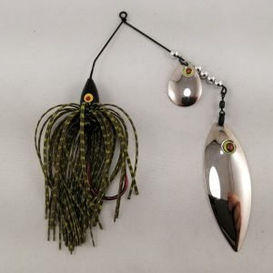 pumpkin and chartreuse spinnerbait with colorado and willow fishhead blades