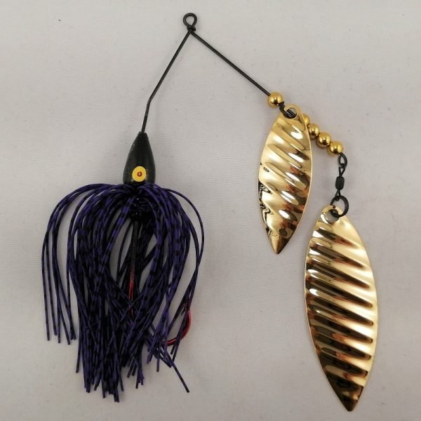 purple and black spinnerbait with double gold willow ripple blades