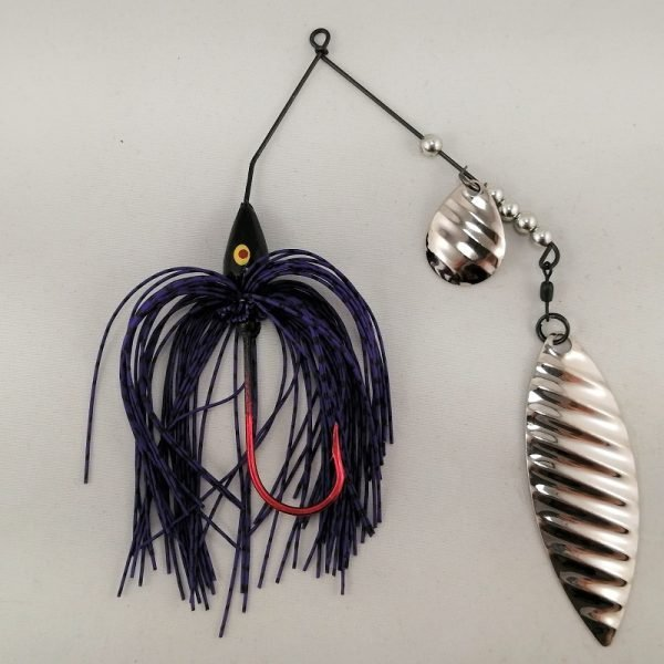 purple and black spinnerbait with colorado and willow silver ripple blades