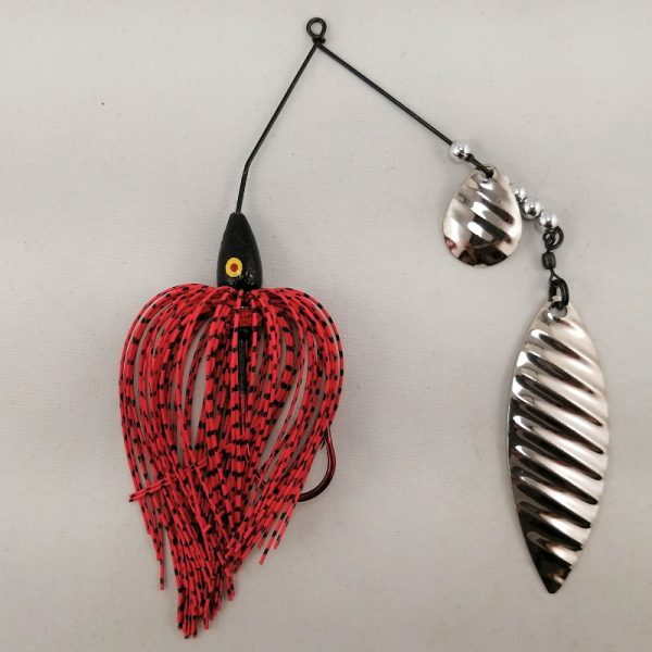 red and black spinnerbait with colorado and willow silver ripple blades