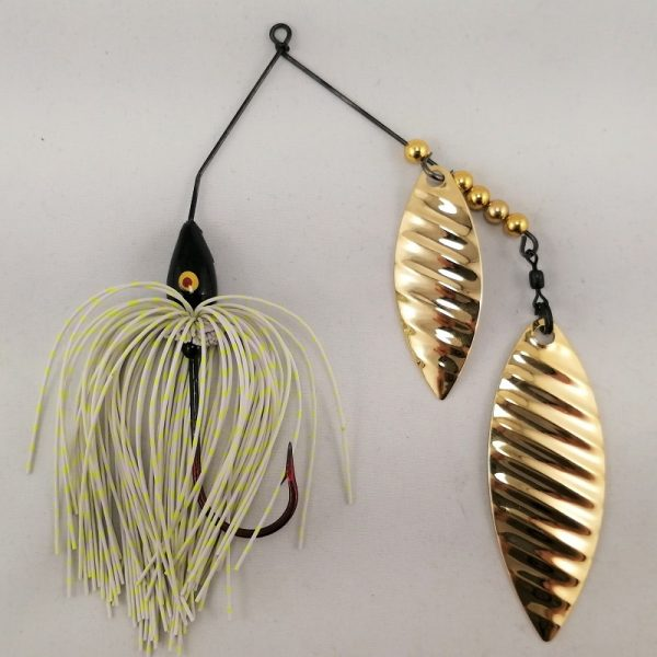 white and chartreuse spinnerbait with double gold willow ripple blades