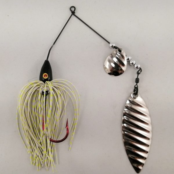 white and chartreuse spinnerbait with colorado and willow silver ripple blades