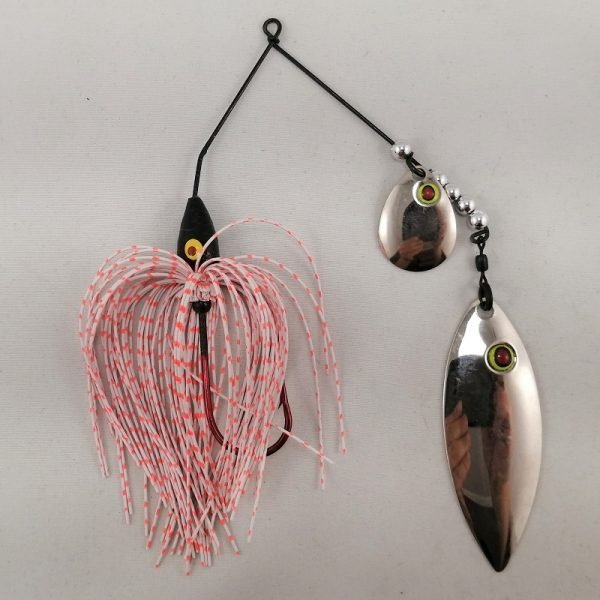 white and orange spinnerbait with colorado and willow fishhead blades