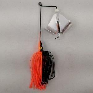 Black and orange buzzbait with silver blades